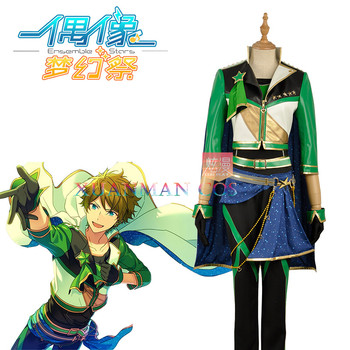 W1187-4 Meteor Group Takamine Midori Cosplay Costume Ensemble Stars Custom Green Man Suit Jacket Long Pants with Glovess