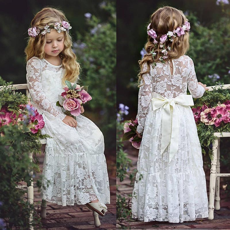 Kids Girls Long White Lace Flower Party Ball Gown Prom Dresses Kid Girl Princess Wedding Children First Communion Dress girl