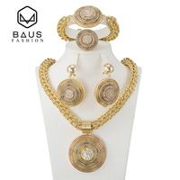 Baus الجملة 2017 جديدة مجموعات المجوهرات قلادة الأقراط الكبيرة دبي الذهب والمجوهرات مجموعة أزياء الأفريقي الأصفر الذهبي مطلي المختنقون