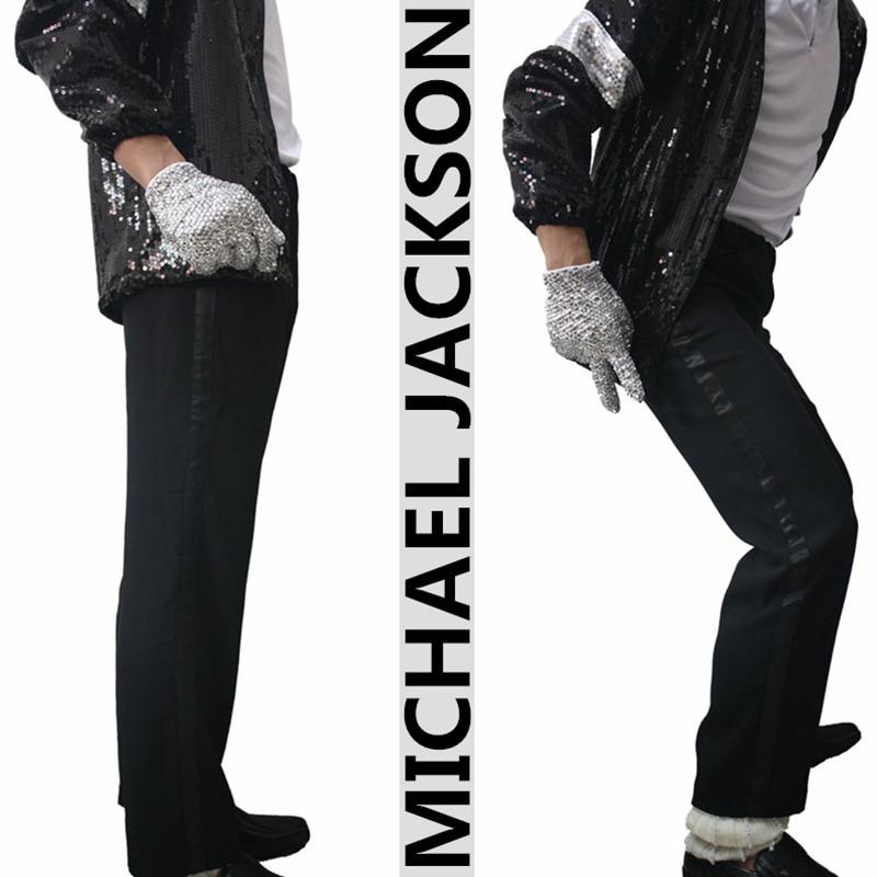 Rare Cotton 100% Casual Full Length Black Straight MJ Michael Jackson Party Show Trousers Pants