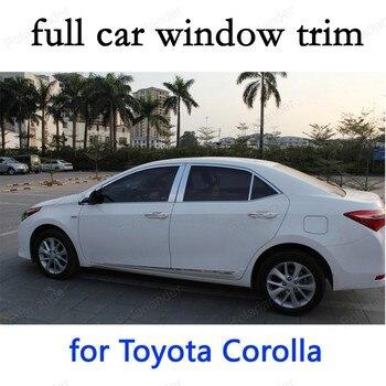 سيارة التصميم الكامل نافذة تقليم الديكور شرائط لتويوتا كورولا 2014 المقاوم للصدأ اكسسوارات السيارات الخارجي