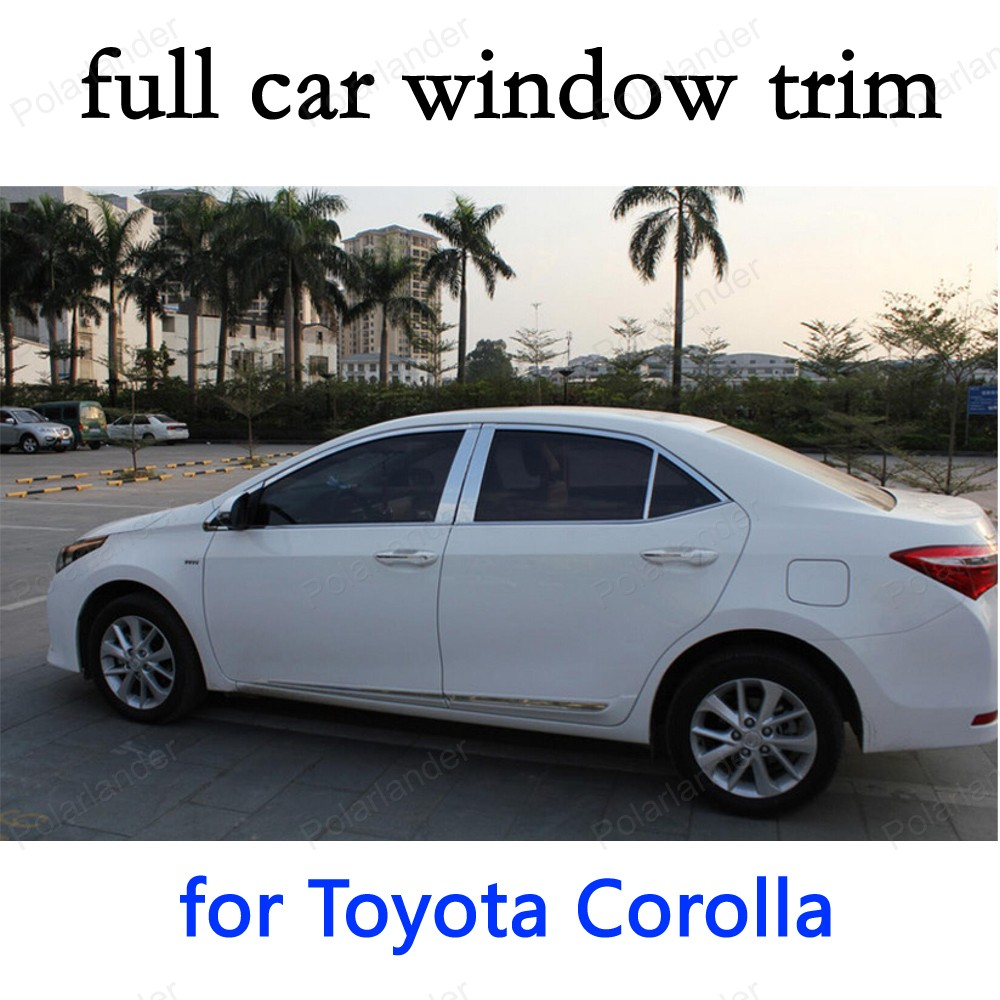 car styling full Window Trim Decoration Strips for Toyota Corolla 2014 Stainless Steel Car Exterior Accessories|window trim|exterior accessories|accessories for corolla - title=