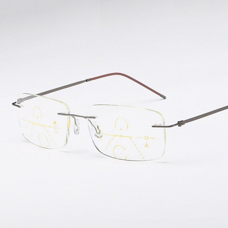Rimless Progressive Multifocal Multifocus Multi focus Reading Glasses Transition Men Eyewear Hyperopia Presbyopia