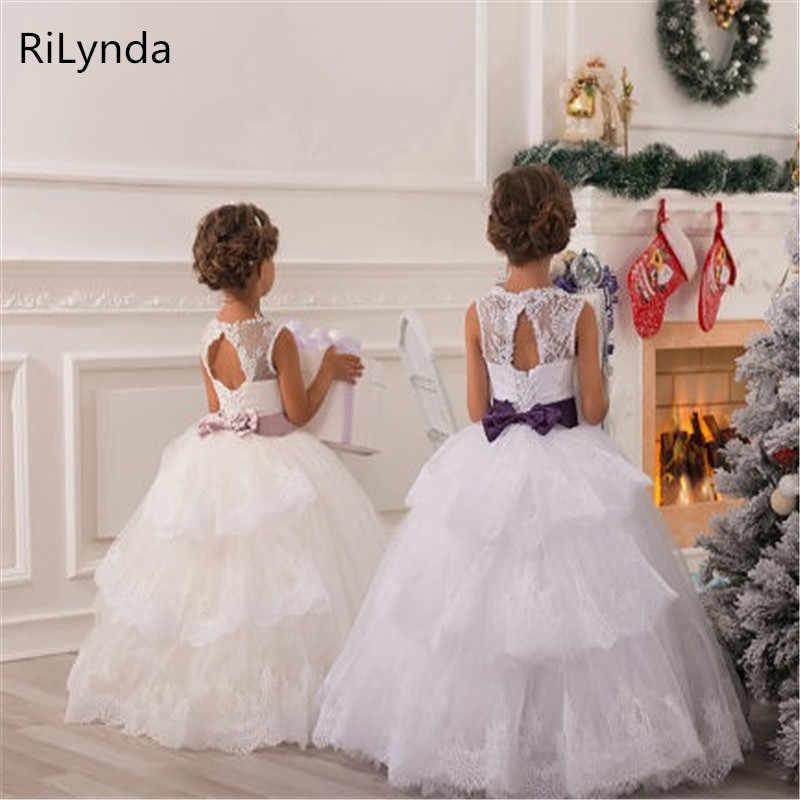 Branco marfim Vestido Da Menina Flor Crianças Pageant Festa de Aniversário Formal de Renda Vestido Longo Bowknot Vestido de Primeira Comunhão vestido de Baile 2-14Y