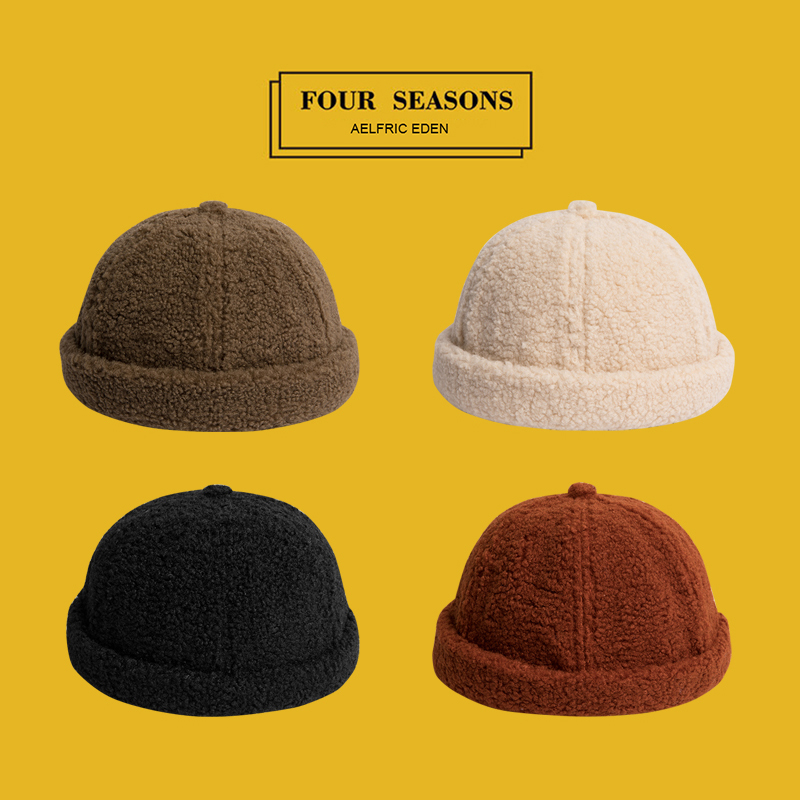 Aelfric Eden Wool Solid Color   Skullies     Beanies   Fashion Men's Hats Winter Warm Round Hat Unisex Snapback Couple Caps TF05