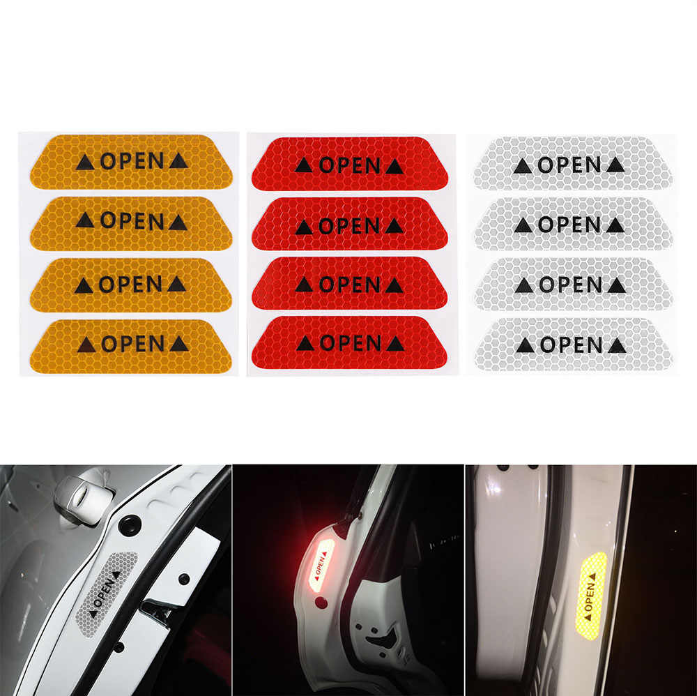 ALLOMN 4pcs Waterproof Car OPEN Reflective Decal Sticker Fluorescent Adhesive Warning Marks Nighttime Safety Driving