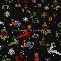 عرض 140 سنتيمتر النسيج 100% ٪ نسيج ندفة الثلج شجرة عيد الميلاد الأيائل المطبوعة الخياطة نسيج المواد diy الملابس اللباس