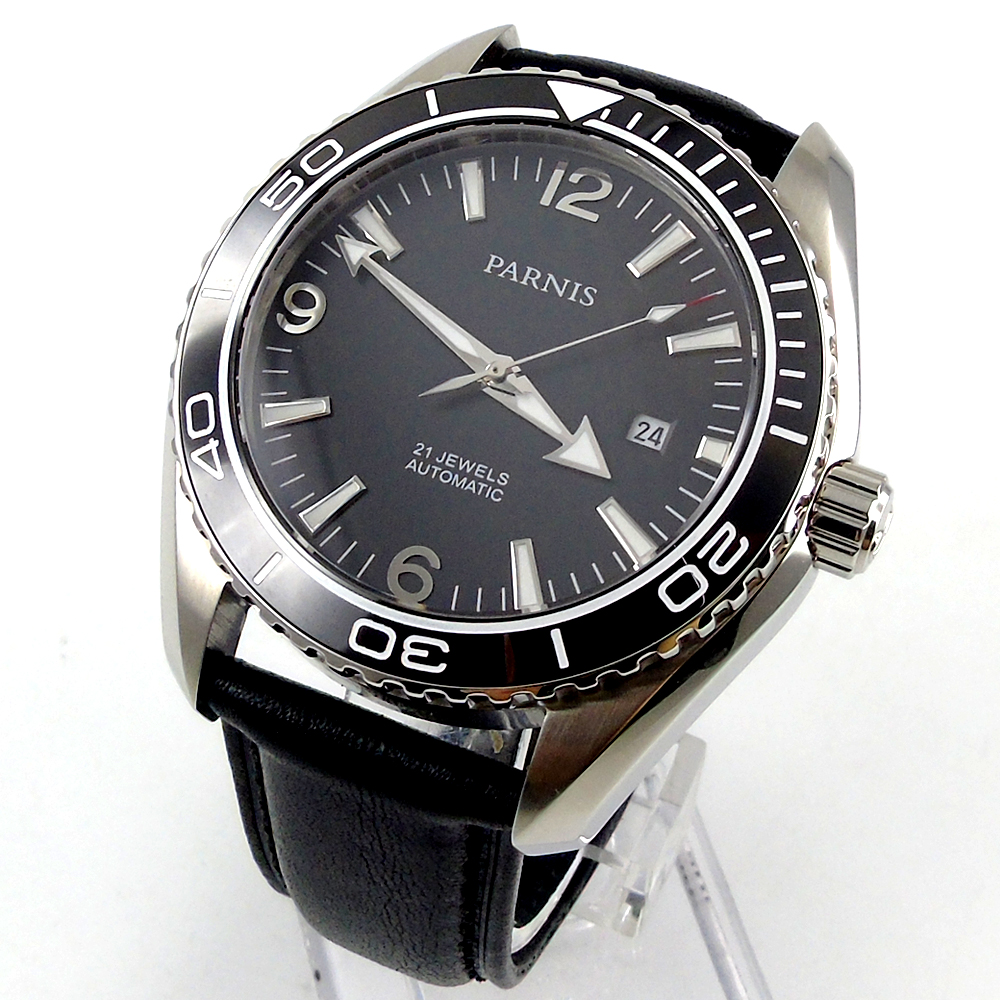 45mm Parnis black dial Sapphire Glass Ceramic Bezel Automatic mens Watch