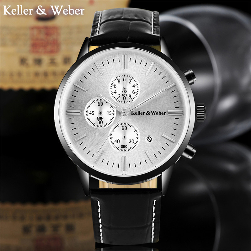 Fashion Brand KELLER & WEBER Watch Men Date Day Waterproof Stop Watches Genuine Leather Dress Male Clock Relogio Masculino Hours рубашка gerry weber gerry weber ge002ewwra96