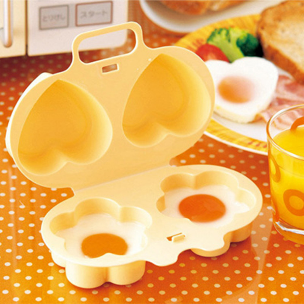 Hot Sale Cooking Tools Novelty Microwave Egg Cooker With Heart And Flower Shaped Creative Products Top Quality 17*12*6cm