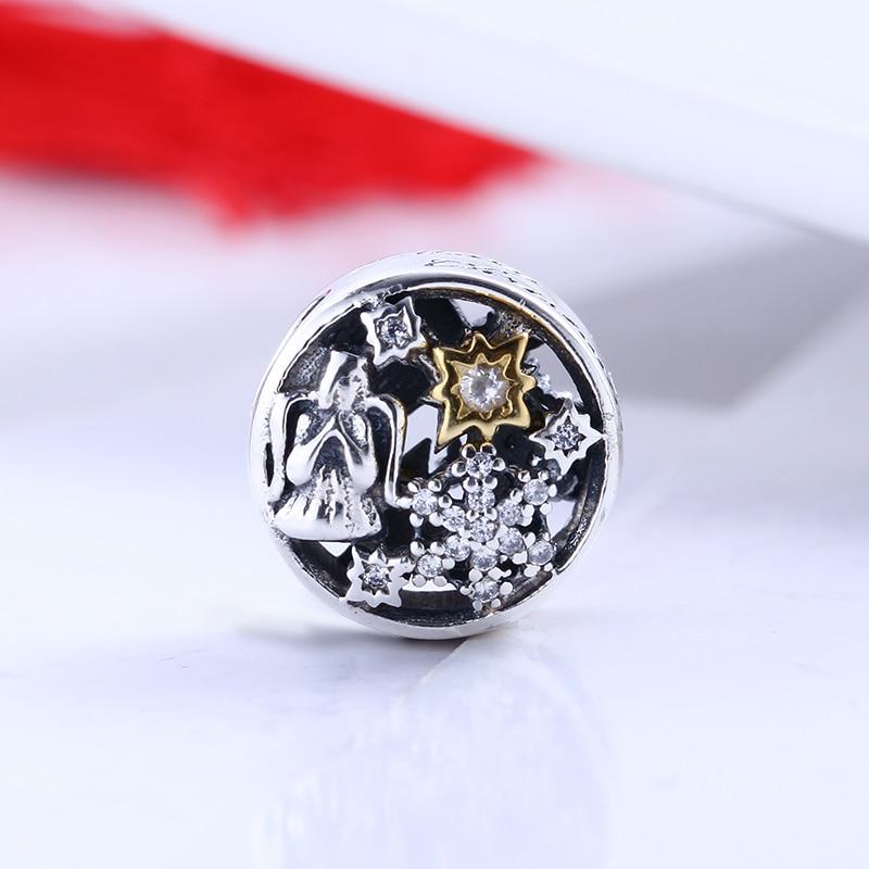 Winter 100% 925 Sterling Silver Fit Original Pandora Bracelet Celestial Wonders silver charm CZ Charm Beads for Jewelry Making