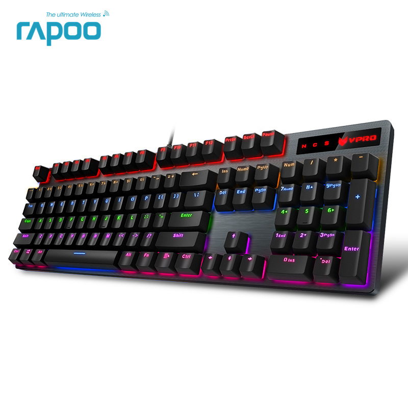 Rapoo V500PRO 104key Mechanical Keyboard USB Wired Gaming Keyboard with 7 Color Backlight for Desktop Laptop Computer Gamer rainbow gaming backlight keyboard 87 keys colorful mechanical keyboard with blue black switches desktop for pc laptop