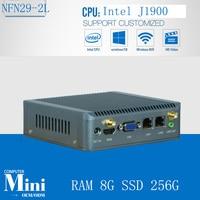 Quad Core Plam Size J1900 Mini PC RAM 8G SSD 256G 2* LAN Mini Computer Windows Mini PC 1080P HD HDMI Port Mini Computador Nettop