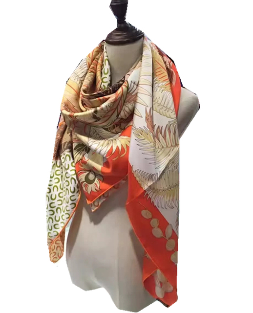 "New Women's Silk Scarf 55"" 140cm Kerchief Orange Color Novelty Pattern Shawl Occident Style Keep Warm High Quality BY169299"