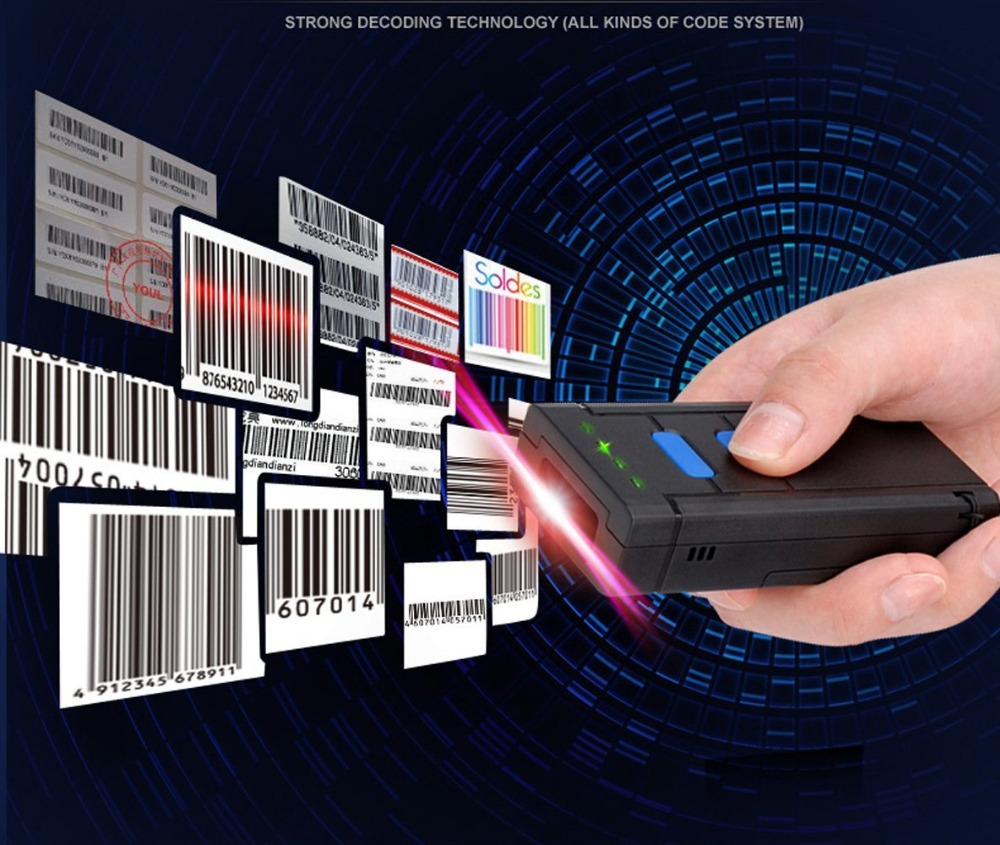 Blueskysea MJ2877 Pocket Wireless Laser Bluetooth Barcode Scanner for IOS Android Mobile Phone Tablets Windows PC
