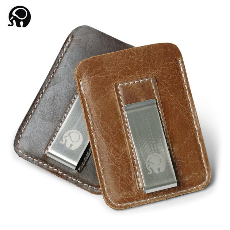 2017 NEW Genuine Cowhide Leather Money Clip Wallet Men Slip Metal Short Wallets Men Slim Clutch Men Mini Convenient Wallet