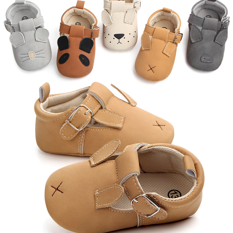 Cute Animal Cartoon Baby Boy Shoes Pu Leather Baby Girl  Non-slip Shoes Infant Prewalker Shos Crib Cotton Sole Shoes