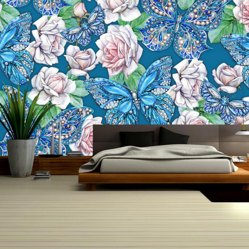 3d butterfly wall art hand painted flower wall decor - How to paint murals on bedroom walls ...