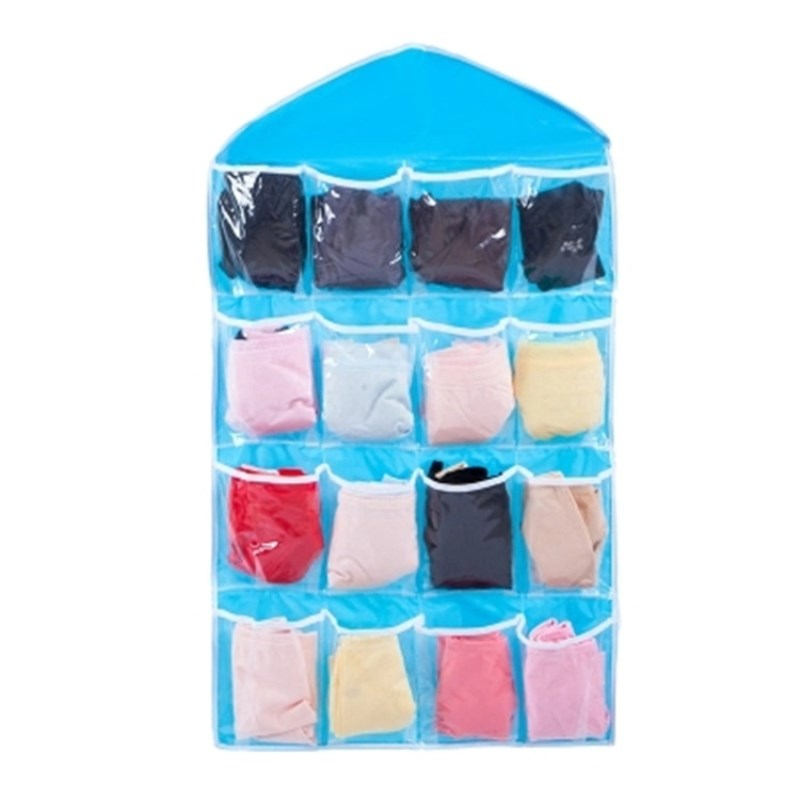 16 Pockets Closet Wall Door Hanging Organizers Polyester Storage Bag for Underwear Socks Shoe Toy Stationery