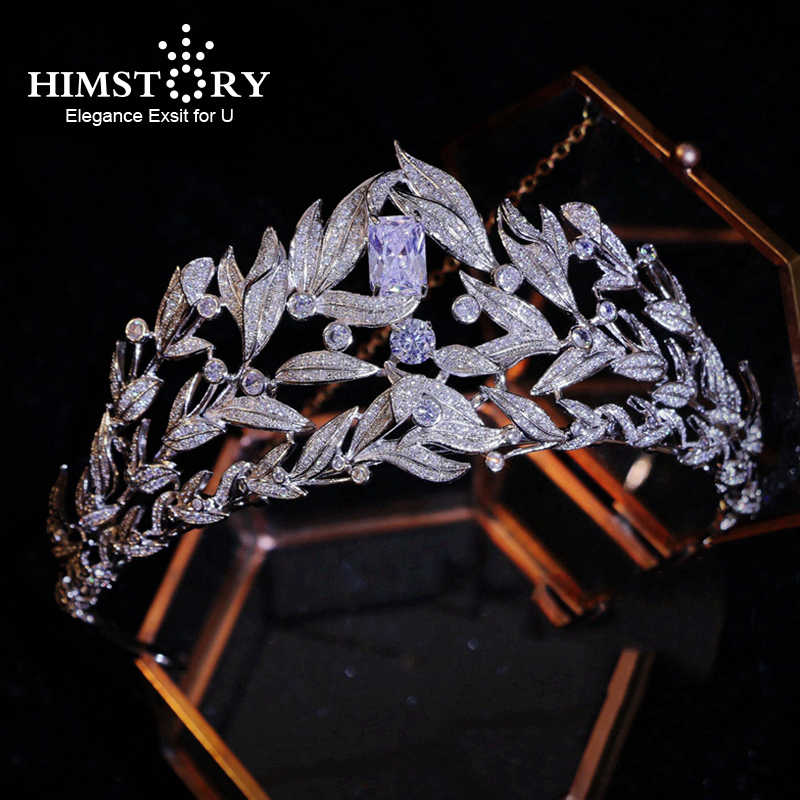 Himstory Gorgeous Clear Cubic Zircon Wedding Tiara Crown CZ Bridal Queen Princess Pageant Party Crown Hair Accessories Headband
