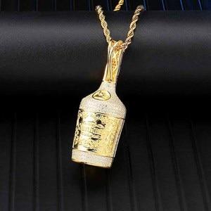Image 5 - アイスアウトブリンブリンシャンパンボトルラインストーンロープチェーンゴールドカラーペンダント & ネックレス男性ヒップホップジュエリードロップシッピング