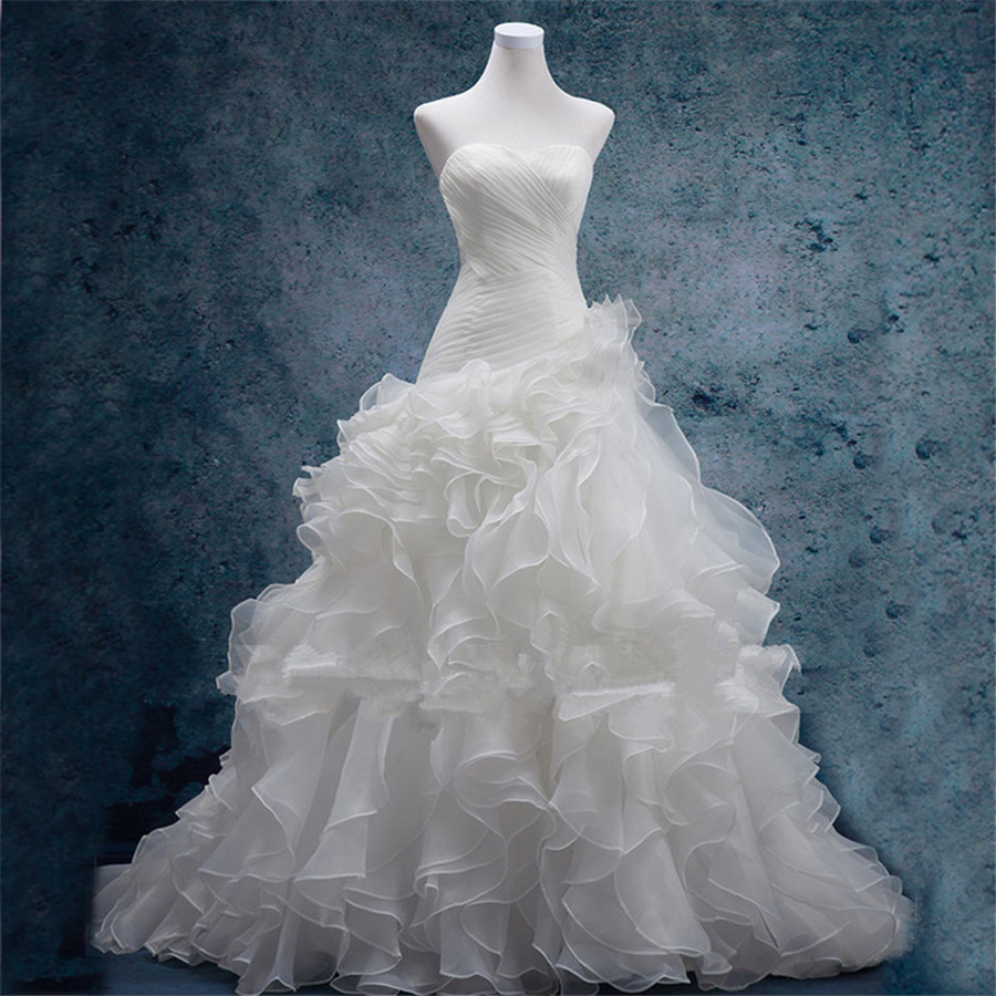 Hot Sale In Stock Sweetheart Neckline Ruched Bodice Ruffled Organza Reals Chapel Train Wedding Dresses vestidos de novia 1