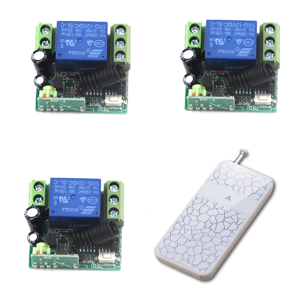 DC 12V  1 Channel RF Wireless Remote Control 3 pcs Receiver & 1 pcs Transmitter Remote Control Switch for Smart Home 315/433mhz dc 12v 1 channel rf wireless remote control 3 pcs receiver