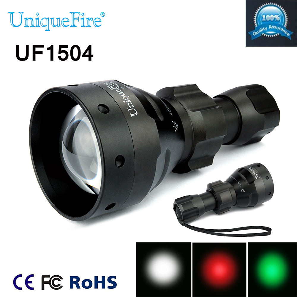 Uniquefire New upgrad 1504 XRE LED Flashlight Practical Green/Red 1Mode Light For Camping Hunting Free Shipping