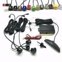 QUE CREAR 4 Sensores Zumbador/LED Taladro Agujero Consideró 22mm Coche Kit de Sensores de aparcamiento Inversa Sistema de Radar de Alerta de Sonido Indicador de 13 Colores