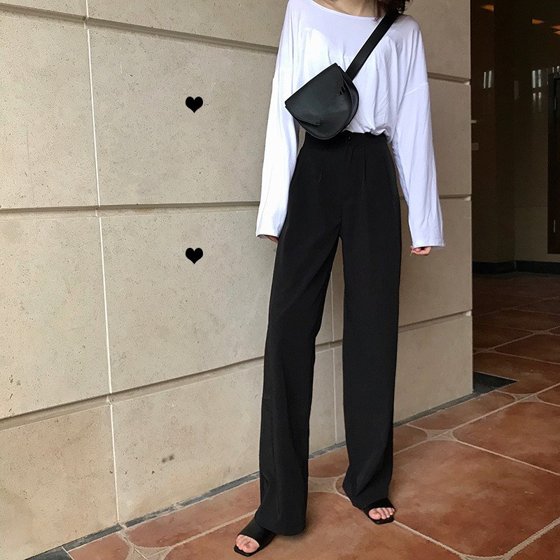 Autumn New Women   Wide     Leg     Pants   Fashion Solid Straight High Waist   Pants   Casual Loose Femme Long Trousers
