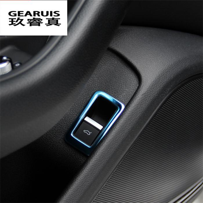 Автомобильный Стайлинг, задний багажник, кнопка управления, декоративная рамка, синий, черный, нержавеющая сталь, наклейка для новой Audi A4 B9 - Название цвета: Blue