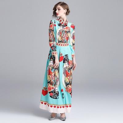 Soirée Gc558 Picture Robe Imprimer Vintage Maxi Longues Tinteen De Femmes Casual Robes Mode Color Manches Longue Élégante Printemps Slim À roxWdBQCe