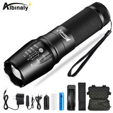 Albinaly Ultra bright Led Flashlight CREE XML-T6/L2 8000 LM Led Torch 5 Models Zoomable flashlight Use 18650 battery Sent gift