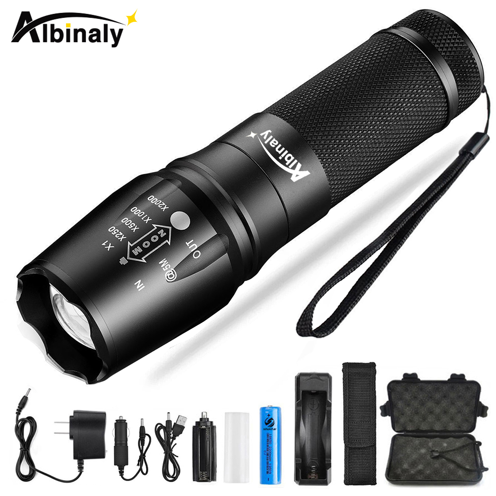 Ultra Bright Led Flashlight T6/L2 Waterproof Led Torch 5 Models Zoomable Flashlight Use 18650 Battery For Camping, Hunting, Etc