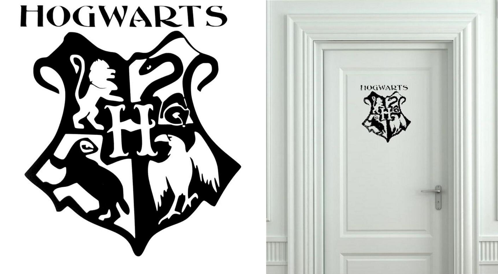 Harry Potter Hogwarts Escudo De Armas Cut Vinyl Art Etiqueta De La
