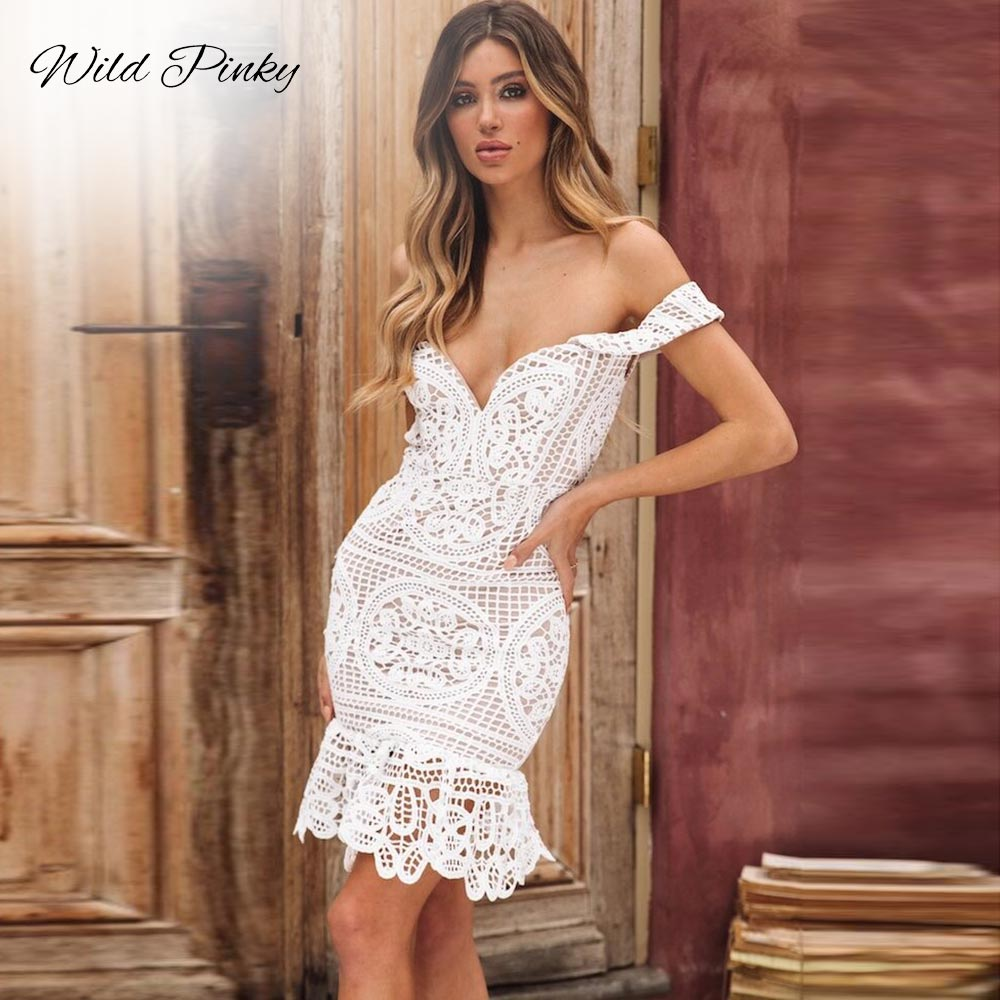 WildPinky 2019 New Style Summer Women White Lace Bodycon Dress Off Shoulder Strapless Sexy Dress Slash Neck Short Dresse Vestido in Dresses from Women 39 s Clothing