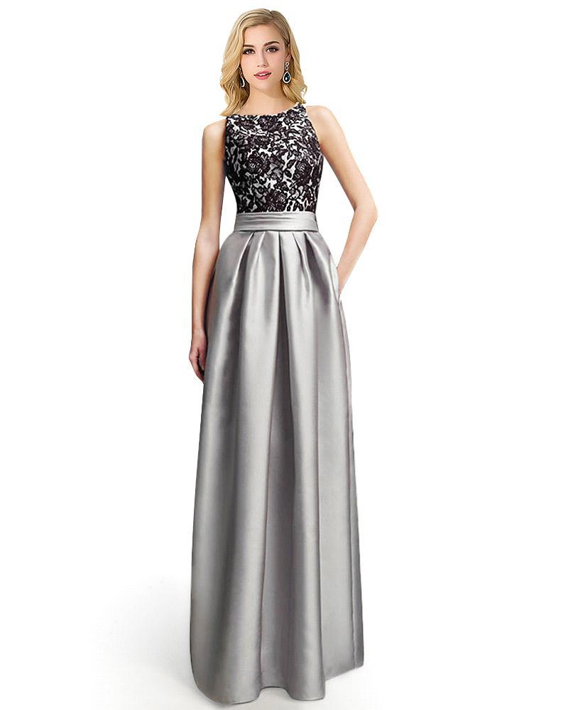 Silver and Black Lace Long Dresses