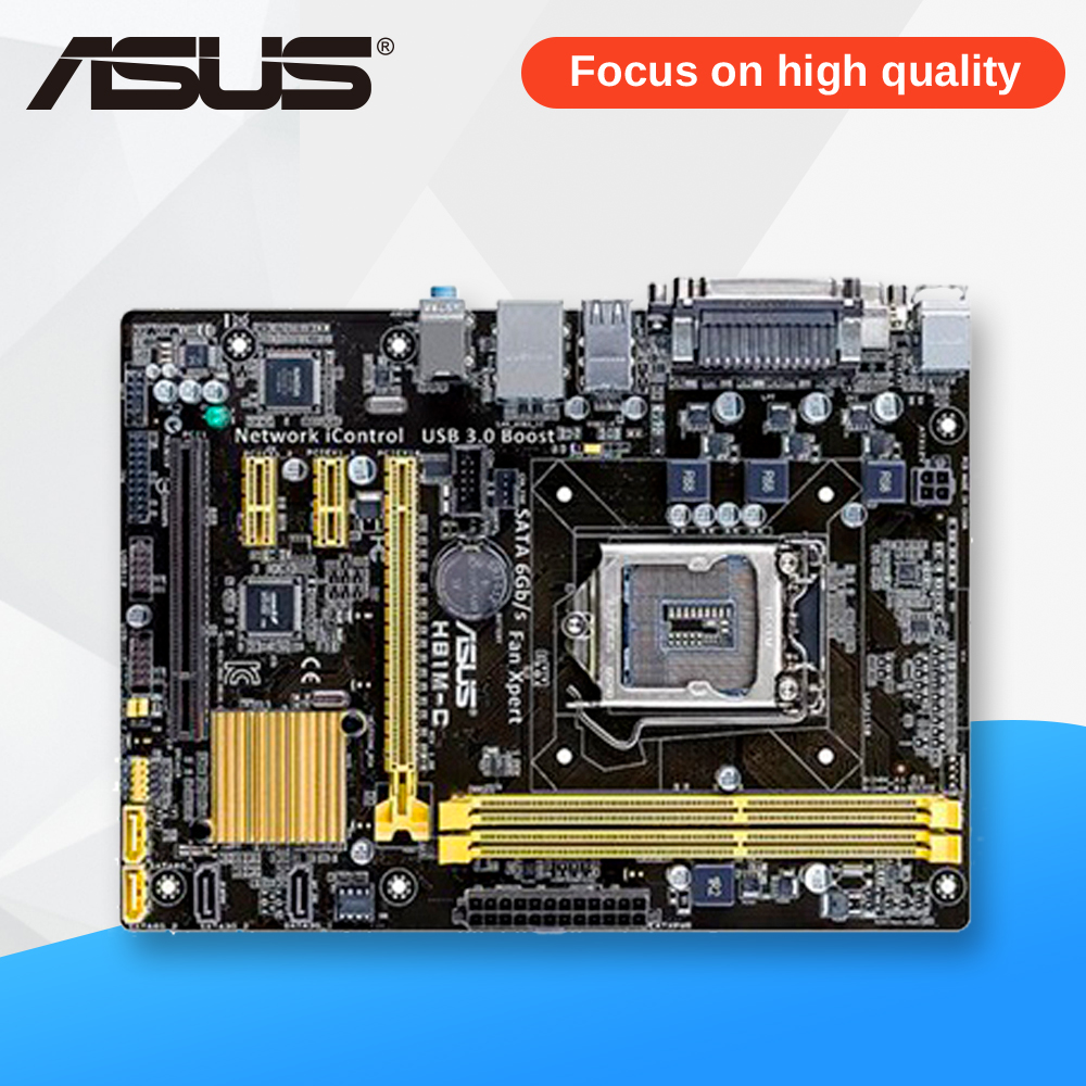 Asus H81M-C Desktop Motherboard H81 Socket LGA 1150 i7 i5 i3 DDR3 16G SATA3 USB3.0 Micro-ATX used for asus b85m d plus desktop motherboard b85 socket lga 1150 i7 i5 i3 ddr3 16g sata3 micro atx