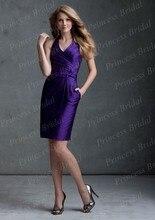 Free Shipping Worldwide New Images Sheath Knee Length Taffeta Short Halter Bridesmaid Dresses With Sash BD066
