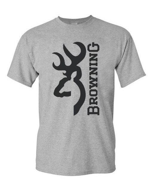 4384d84f Free shipping Mens t shirts Browning logo printed t-shirt 100% Cotton Round  Neck short sleeve t-shirt