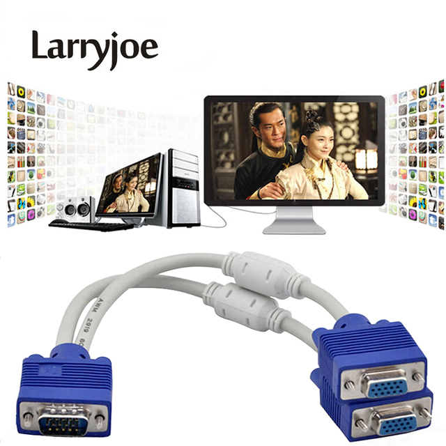 Larryjoe High Quality 1 Computer to Dual 2 Monitor VGA Splitter Cable Video Y Splitter 15 Pin Two Ports VGA Male to Female