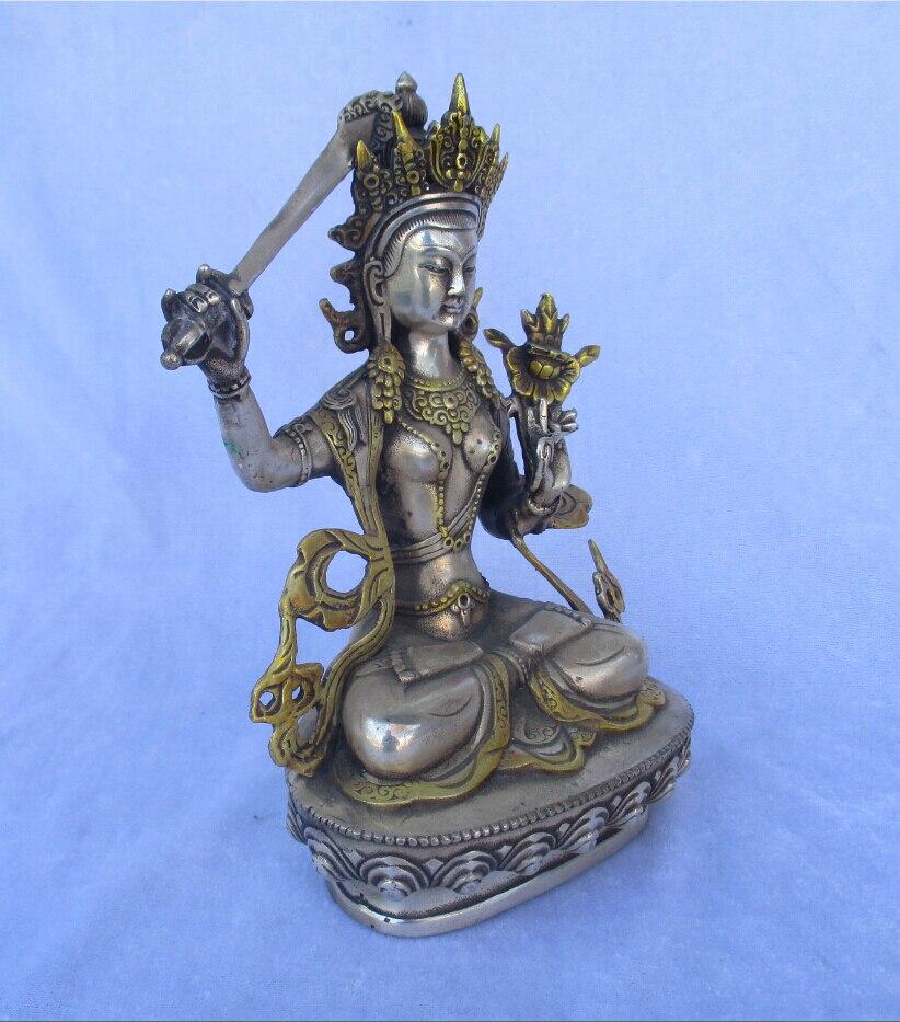 100 Tibet Silver Gold gilt Buddha statue font b Knife b font Buddha High 22CM wide14CM