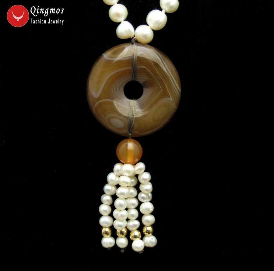 Qingmos Colar Pérola Natural para Mulheres com 6-7mm Branco Rodada de água doce da Pérola & 30mm Donuts Forma Marrom ágatas Jóias Pingente de Colar
