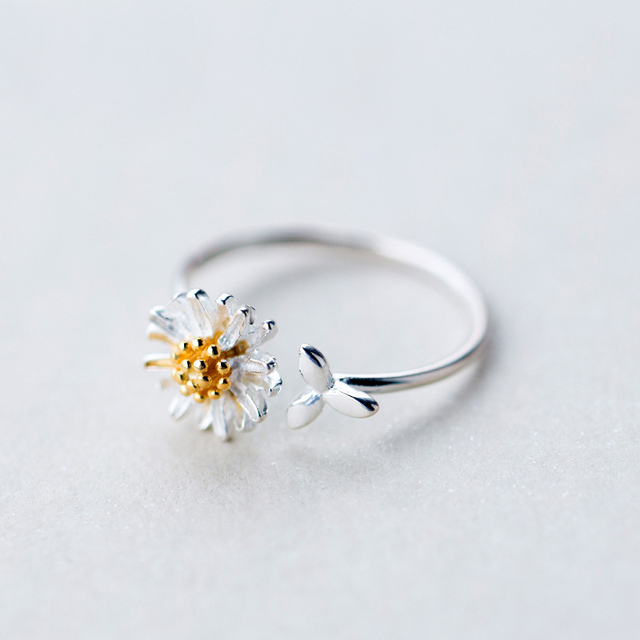 MloveAcc Gold Color Daisy Stamen Flower Open Rings for Women High Quality Lady 100% 925 Sterling Silver Jewelry