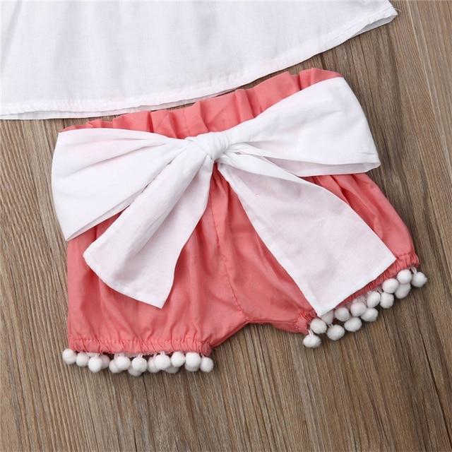 2019 lato niemowlę noworodek dziewczynek ubrania księżniczka Ball topy sukienka + łuk szorty + pałąk stroje zestaw ubranie dla dziewczynki 0-24M