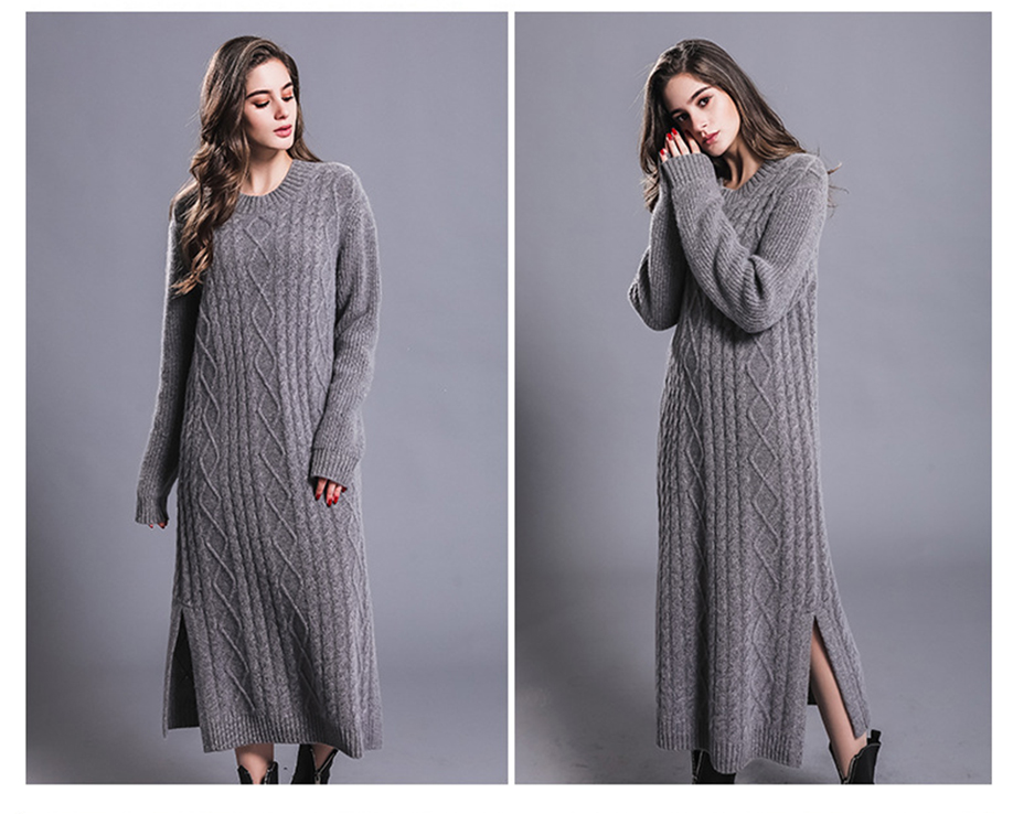 Long Sexy Dress Women 100% Cashmere Ribbed Knitted Sweater Dresses Female O-neck Long Sleeves Knitwear Autumn Winter Dress 18 4