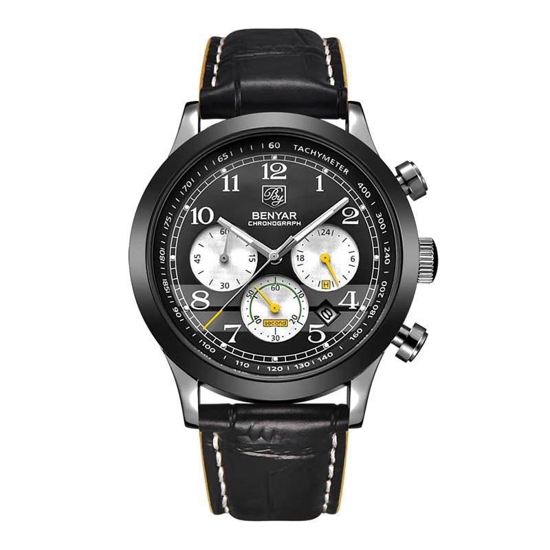 BENYAR Fashion Leather Sports Quartz Watch Waterproof Analog Watch Male Clock Men's Watch все цены