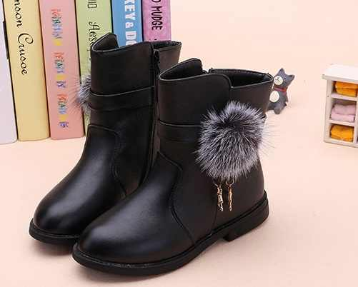 2018child girls snow boots shoes warm plush soft bottom baby girls boots comfy kids leather winter snow boot for Winter Fashion