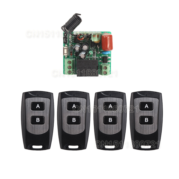 smart home New 220V 10A 1 Channel Wireless Relay Remote Control Light Switch RF Mini Receiver With 4pcs Transmitter