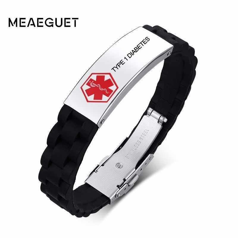 Uisex Stainless Steel Bracelet Medical Alert  Diabetes Engraved Silicone Wristbands Allergies Alert IDs For Children Women Men